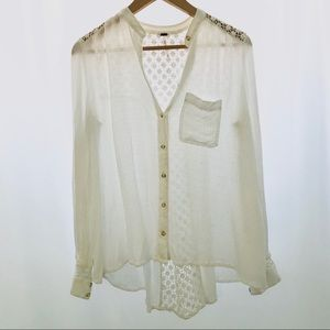 Free People White Long Sleeve With Laced Back